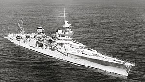 USS Indianapolis underway during WW2