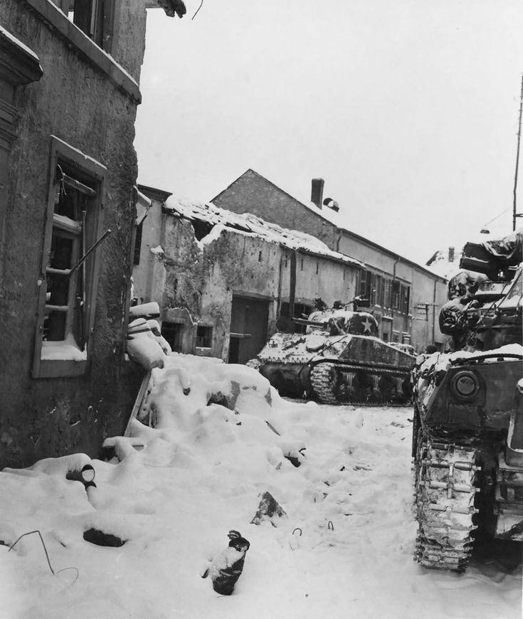 US M4 Sherman Tanks Battle of the Bulge January 1945