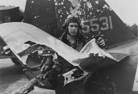 WW2 damage to P47 fighter plane damage.
