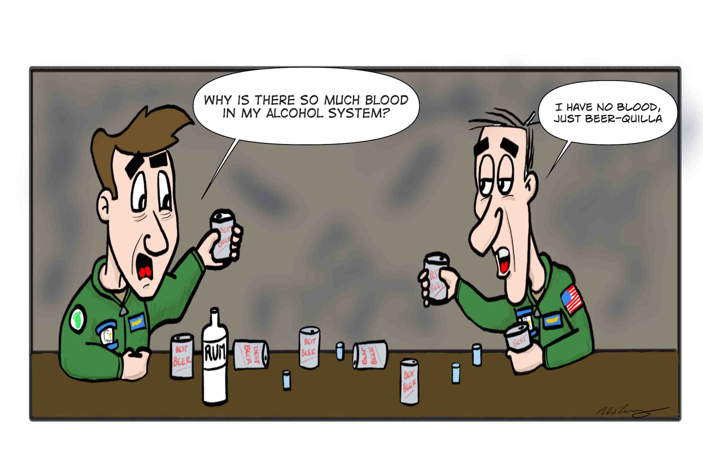 Army aircrew alcohol system is designed to withstand the necessity to drink in every pub discovered worldwide.