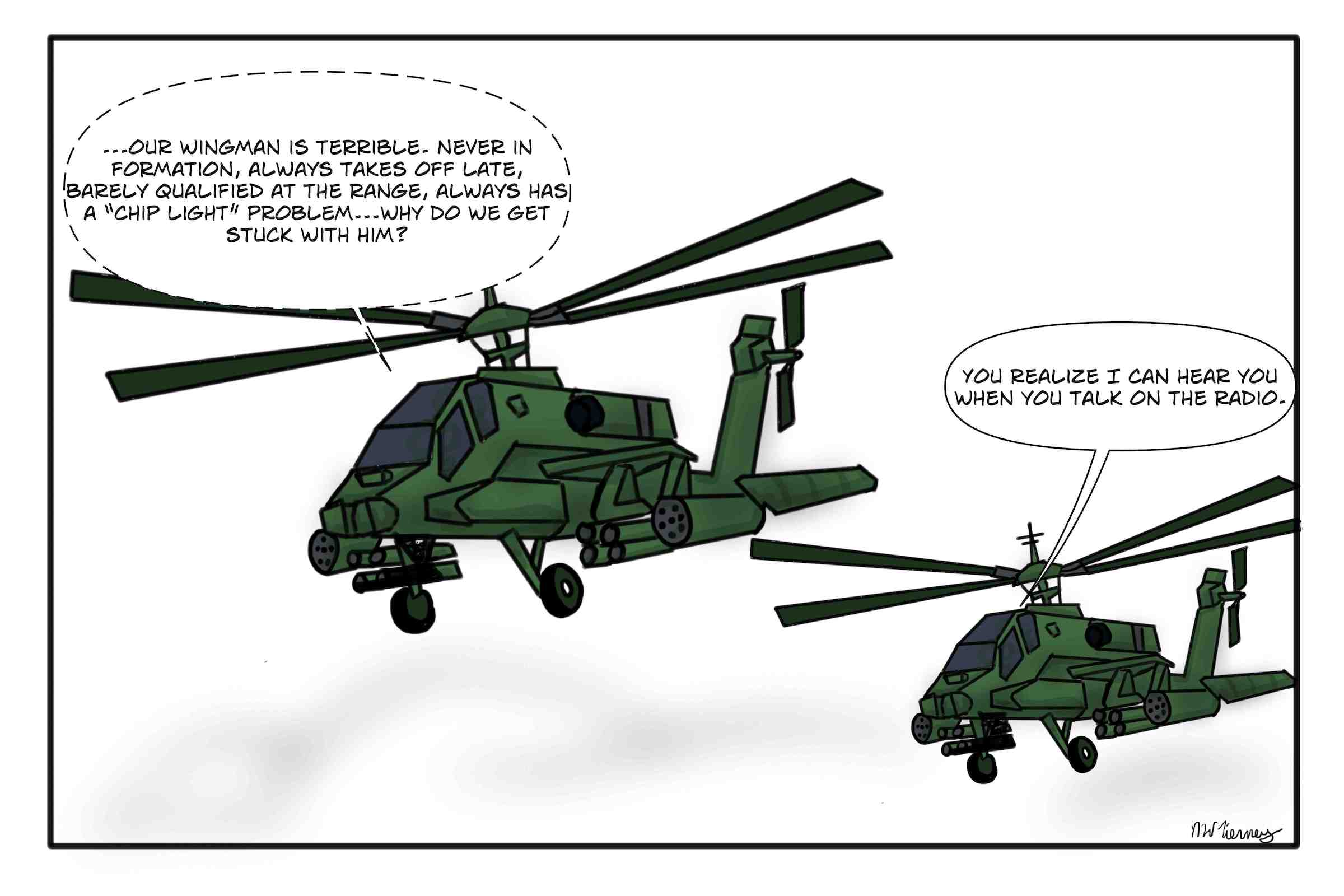 Army Apache Helicopter Pilot trash talks his wingman.