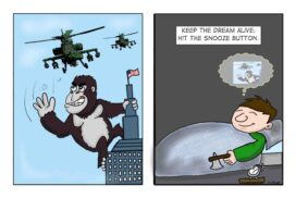 Army attacks King Kong or is it just a dream?