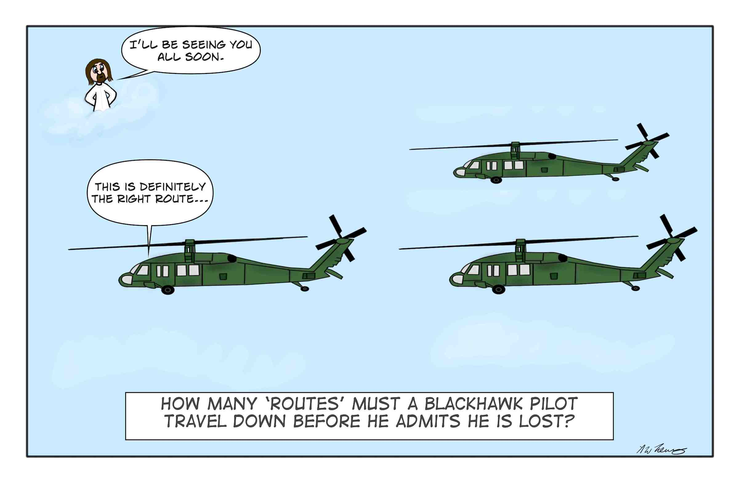 a formation of Army Blackhawks and their pilots are lost in flight.