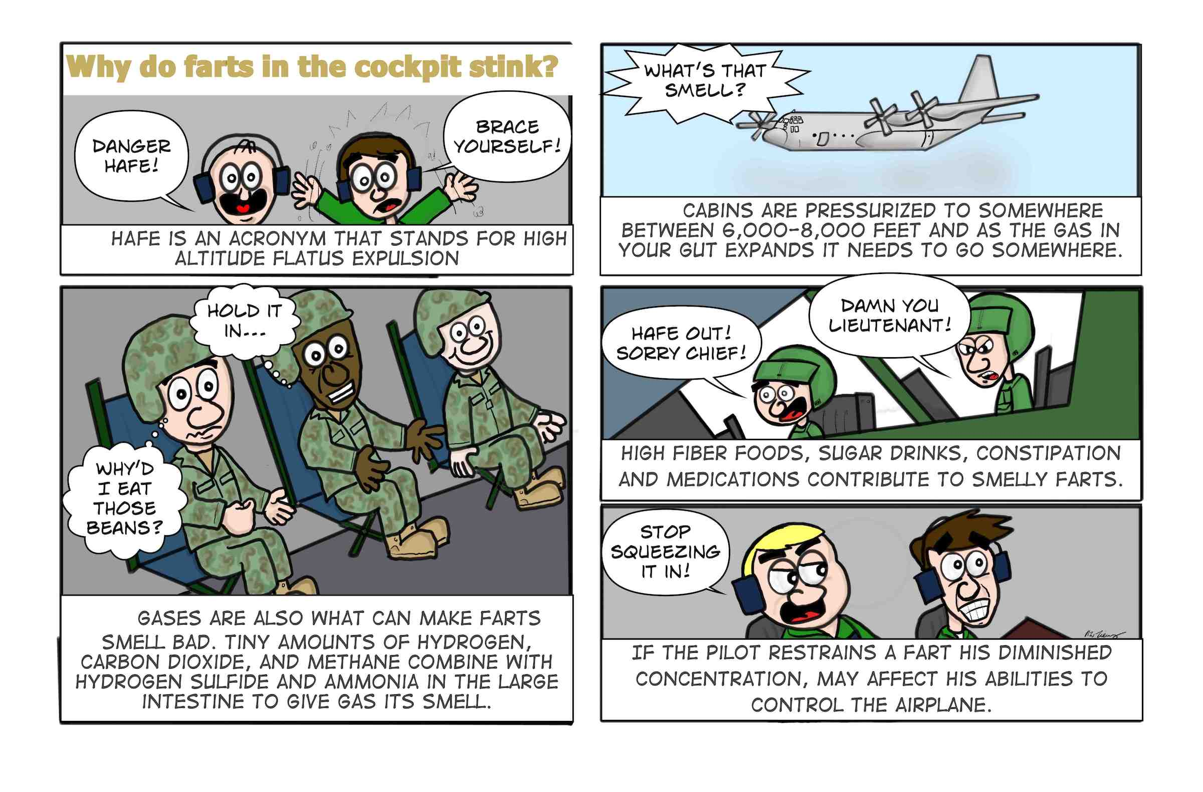 The reasons why aviation farts smell in the cockpit.