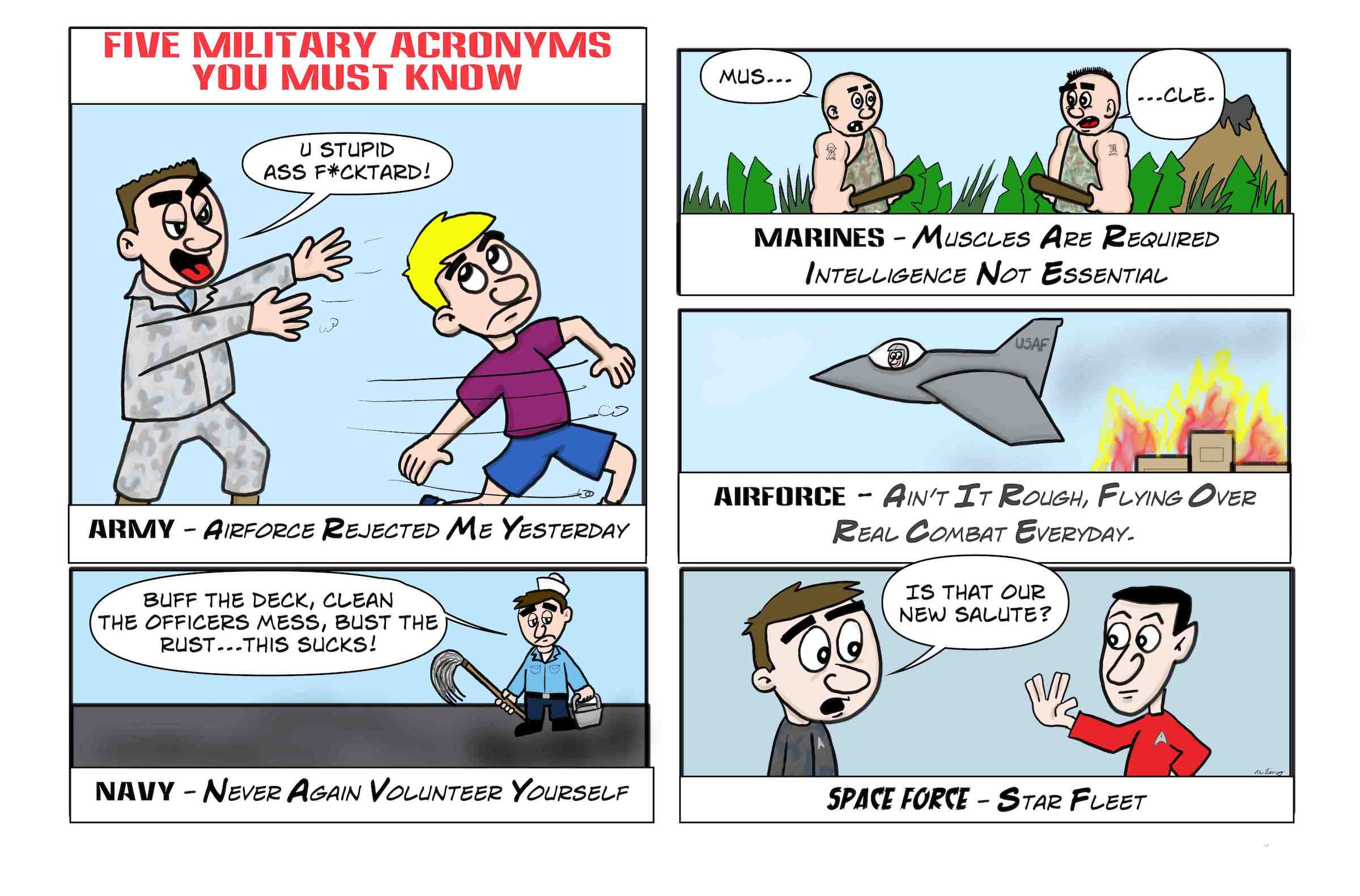 There are funny military acronyms about each branch of service.