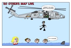 Navy rescue swimmer chooses to save the blonde and not the three children.