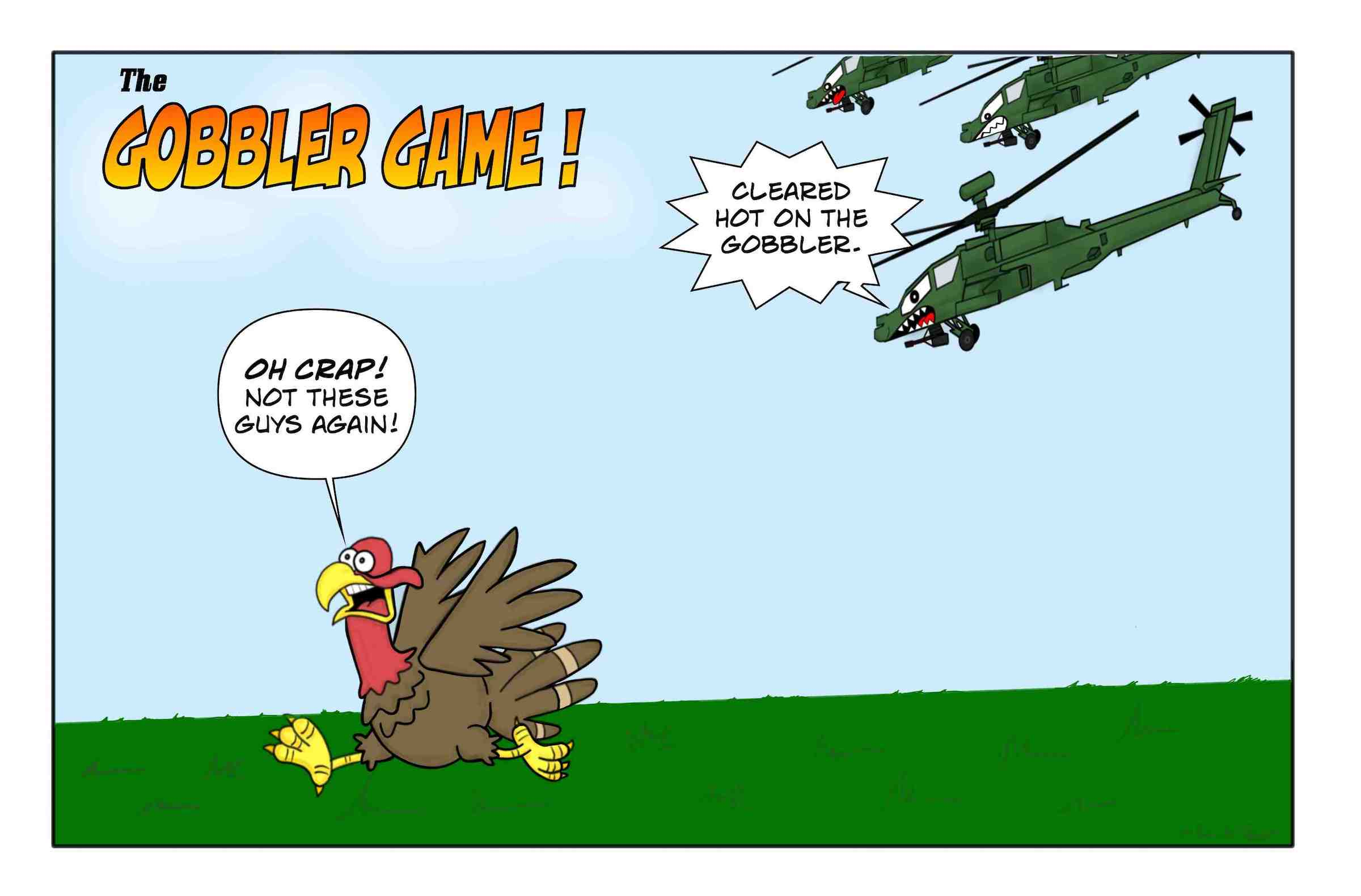 Army Apache helicopters chase after a turkey on Thanksgiving.