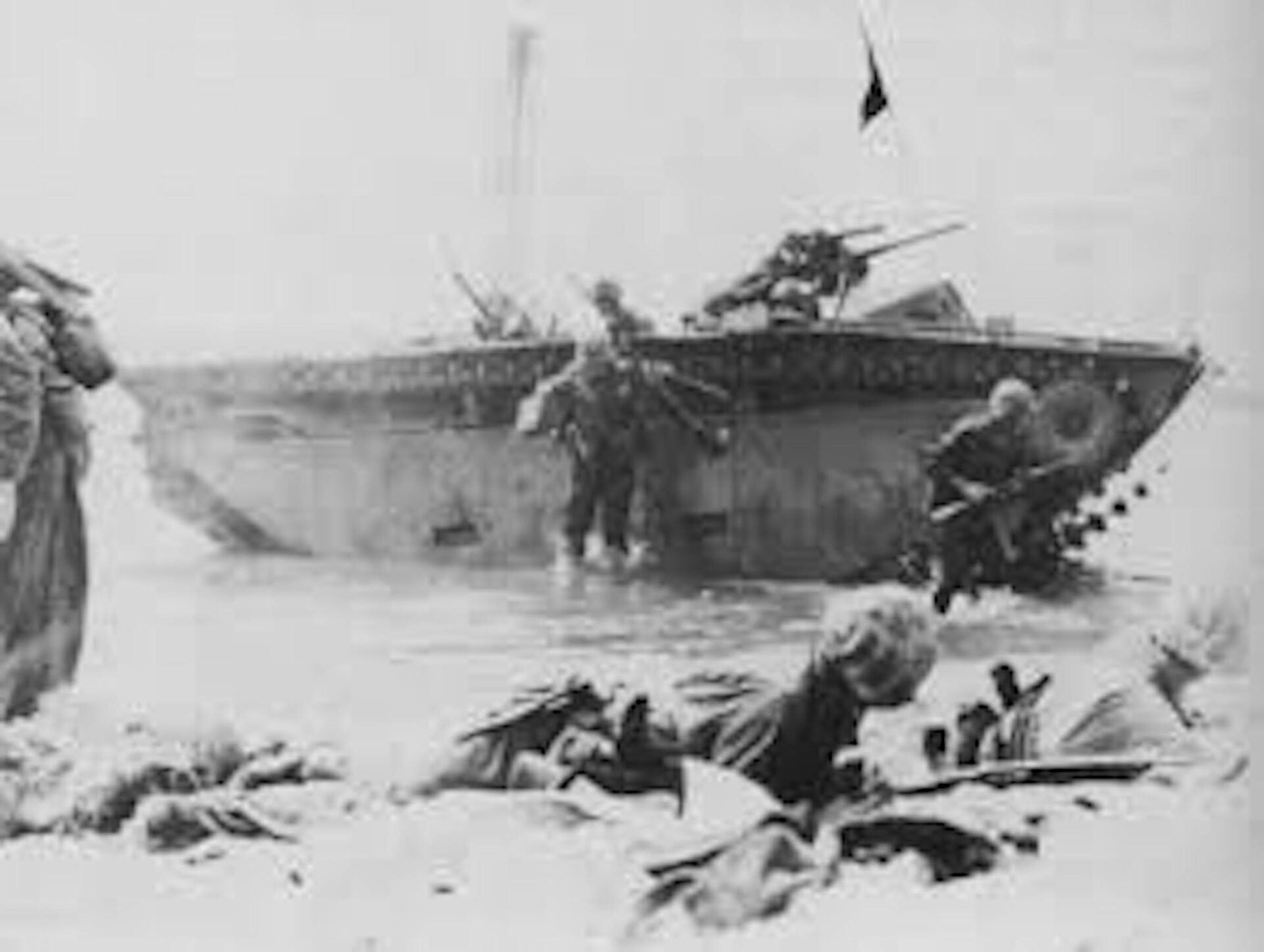 WW2 1st-Armored Amphibian Battalion makes a landing during the war in the Pacific.