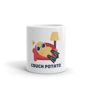 Couch potato front view of 11 oz coffee cup with a rescue swimmer.