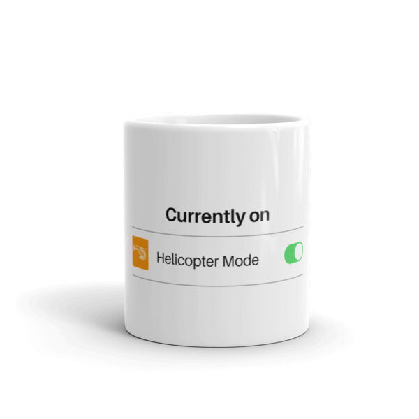 Helicopter flying mode on in this glossy white coffee cup front side view.