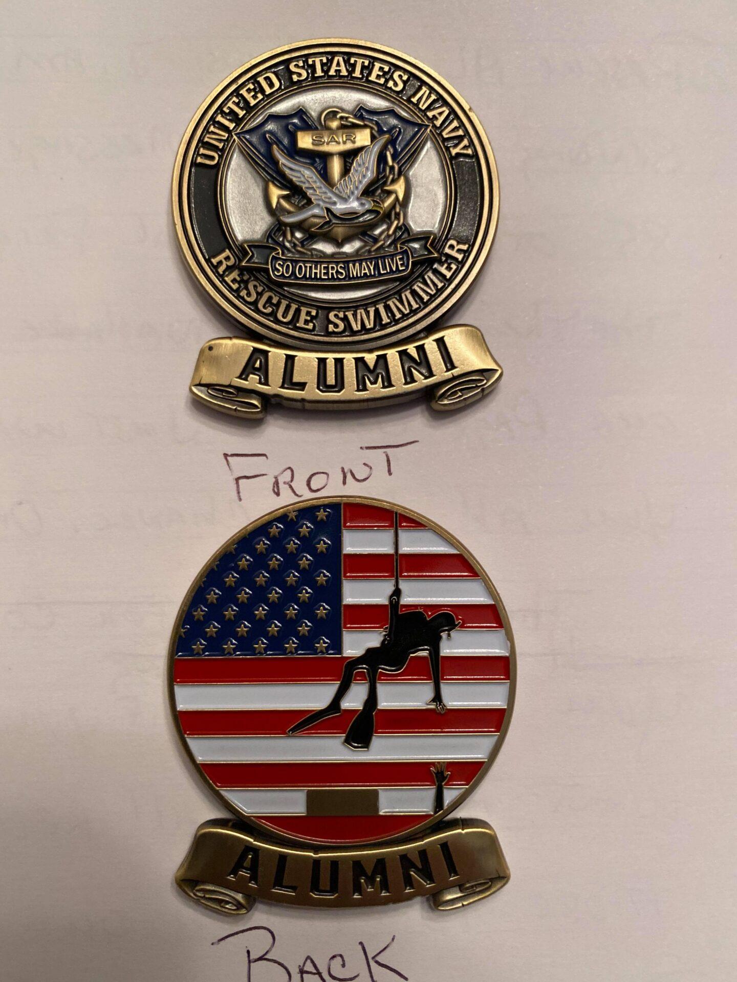 Navy rescue swimmer alumni coins.