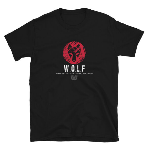 Army warrant Officer liberation front black WOLF head shirt.