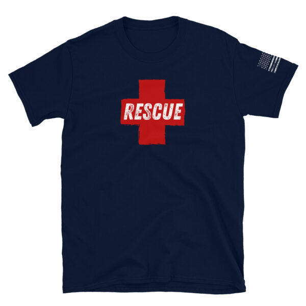Rescue specialist search and rescue with Red Cross navy shirt.