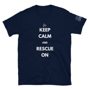 rescue swimmer keep calm and rescue on black military shirt.