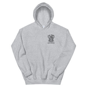 Navy Rescue Swimmer definition on grey hoodie.