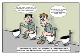 Army soldiers have a toilet chat.