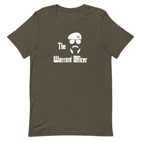 The Army Warrant Officer shirt features retro sunglasses, military beret, and a funny mustache on a light brown t-shirt