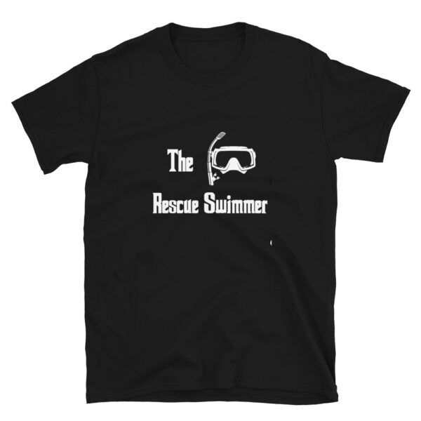 The Rescue Swimmer Mafia shirt is black and features a diving mask and snorkel.