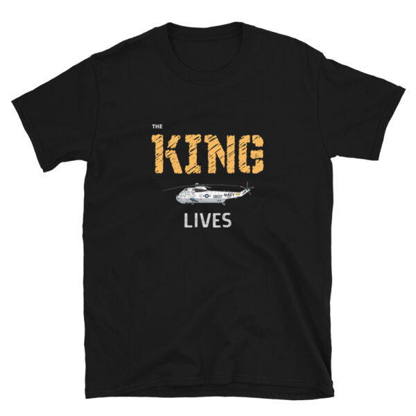 The King Lives is a black t-shirt with a SH-3 Sea King Helicopter, which was used for search and rescue missions worldwide.