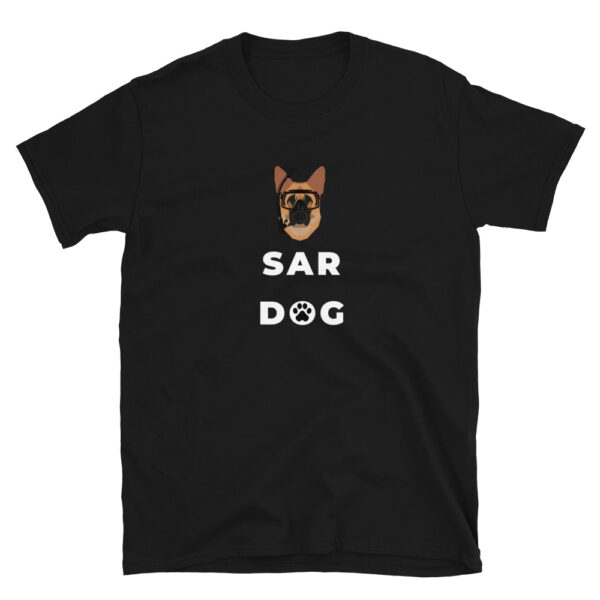 SAR Dog shirt is for rescue specialists and military rescue swimmers who are charged with rescuing others in distress and in harm's way. This black shirt with a German Shepard and diving mask is available in all sizes.