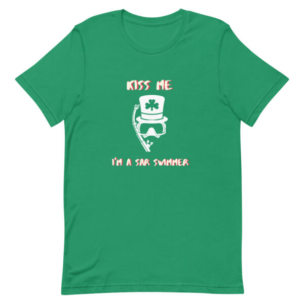 Kiss me I'm a rescue swimmer is a perfect Saint Patrick's Day green t-shirt.