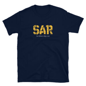 SAR is a navy blue colored frontlines t-shirt designed for rescue specialists and search and rescue military forces who render aid so others may live.