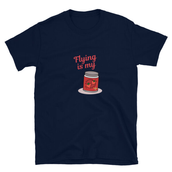 Flying is the jam for airplane and helicopter pilots and aviation enthusiasts. The frontlines t-shirt design is navy blue colored and has a red jar of strawberry jam and army aviation wings logo on it.