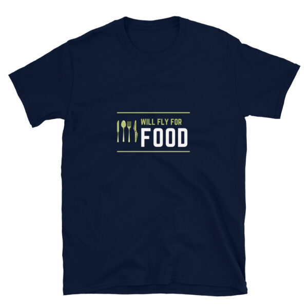 Aviators will fly for food because they love flying aircraft. This is a navy shirt available in multiple sizes.